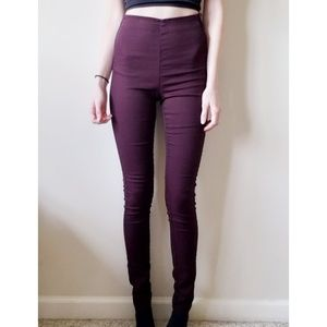 Maroon High Rise Pants Size 4